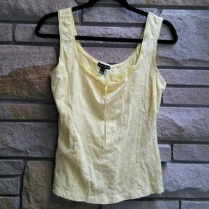 FANG pale yellow emrboidered stretch tank top XL